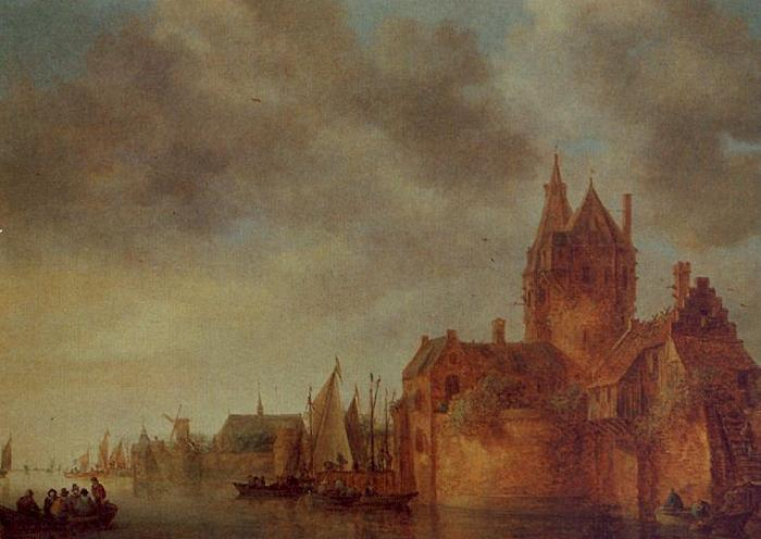 Jan van  Goyen A Castle by a River with Shipping at a Quay