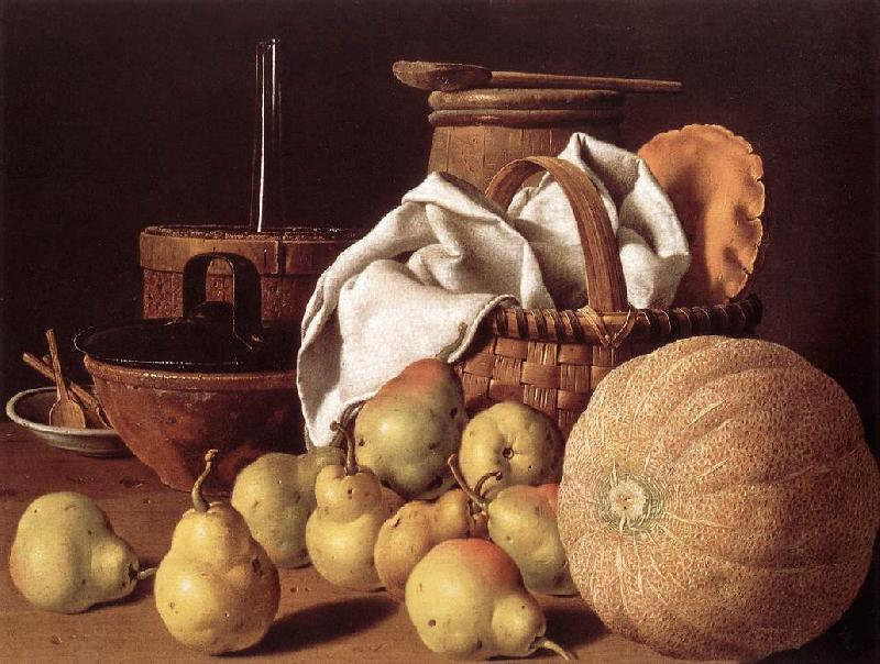 MELeNDEZ, Luis Still-life with Melon and Pears sg