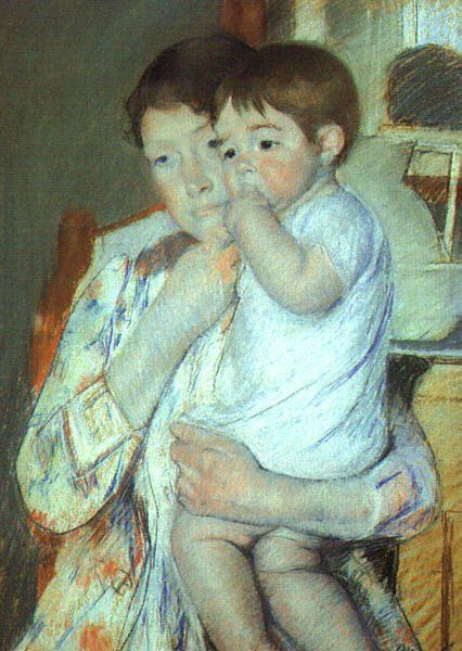 Mary Cassatt Mother and Child against a Green Background