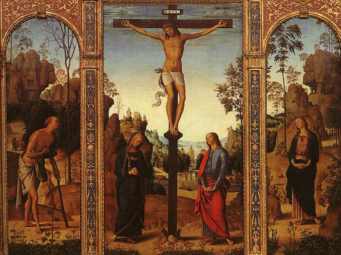 Pietro Perugino The Crucifixion with The Virgin, St.John, St.Jerome St.Magdalene oil painting picture