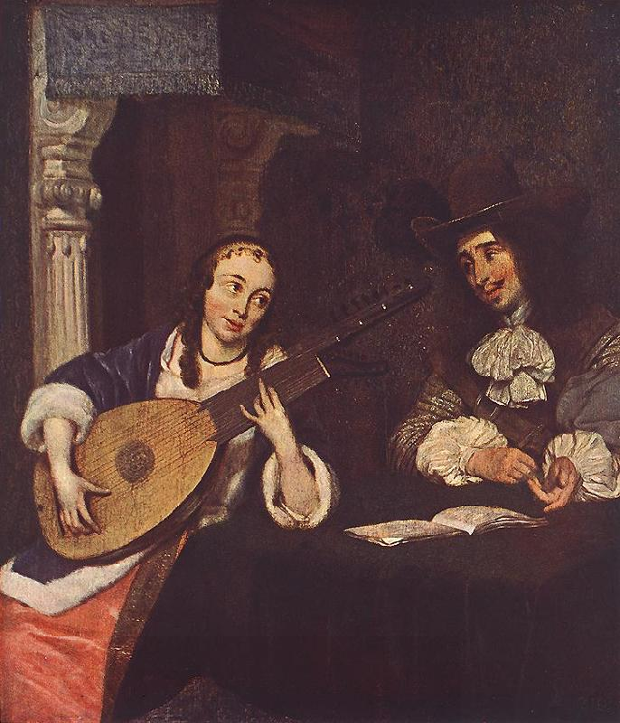 TERBORCH, Gerard Woman Playing the Lute st