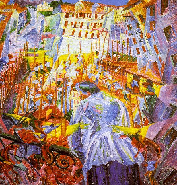 Umberto Boccioni Street Noises Invade the House oil painting picture