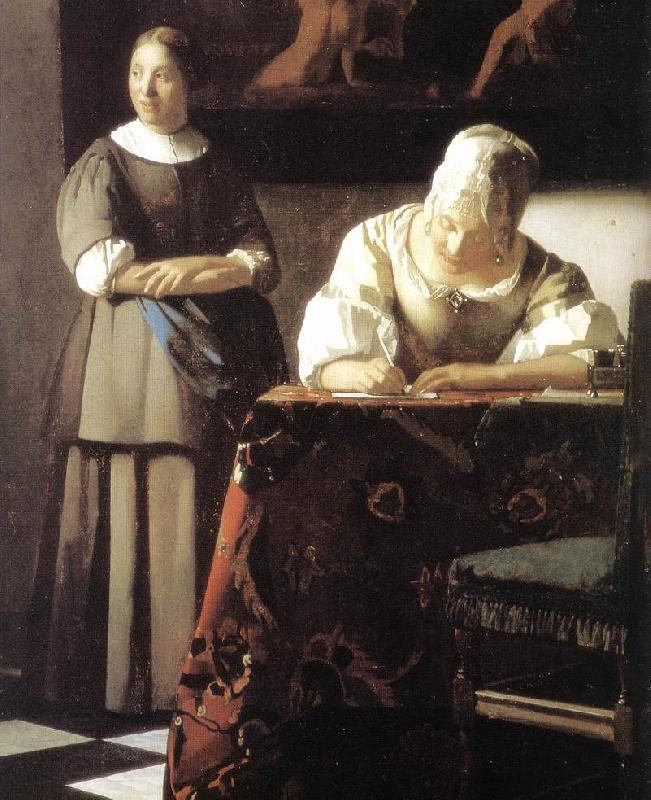 VERMEER VAN DELFT, Jan Lady Writing a Letter with Her Maid (detail)  ert