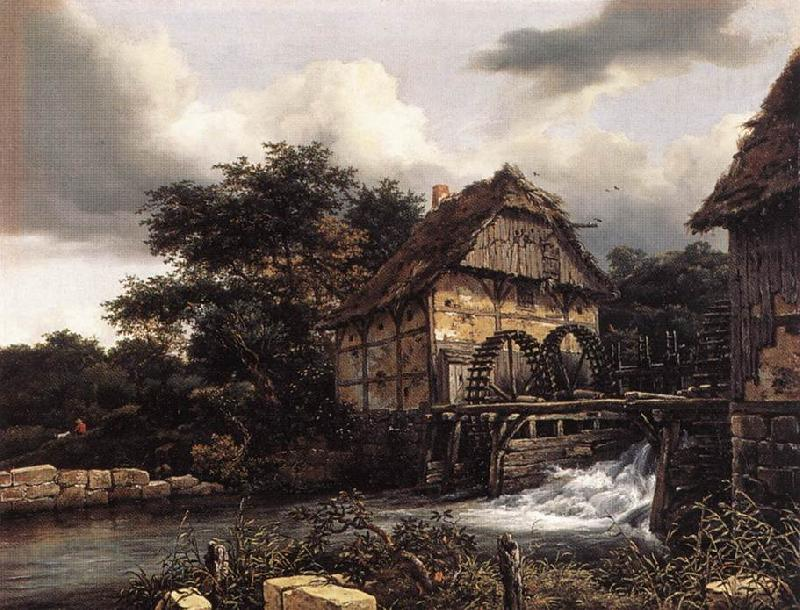 RUISDAEL, Jacob Isaackszon van Two Water Mills and an Open Sluice dfh
