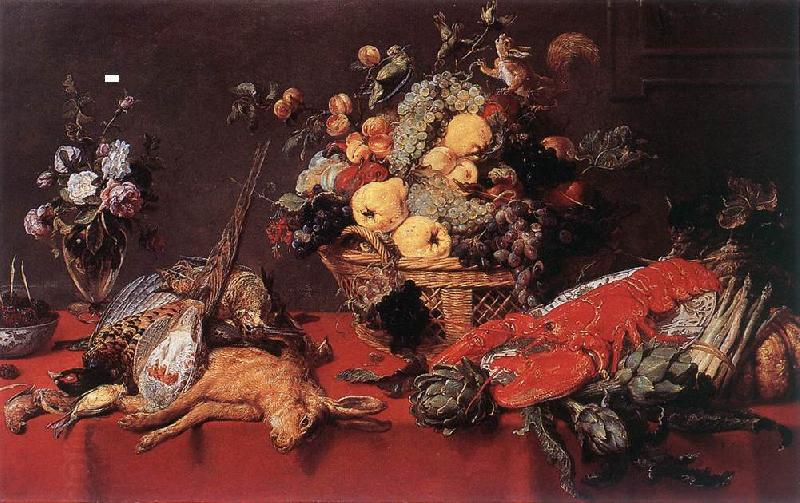 SNYDERS, Frans Still-life with a Basket of Fruit w r