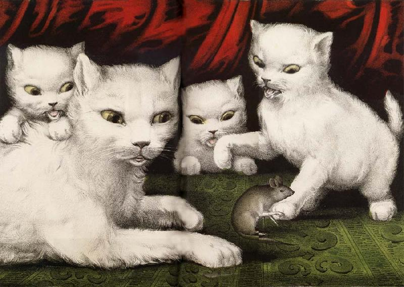 Currier and Ives Three little white kitties oil painting picture
