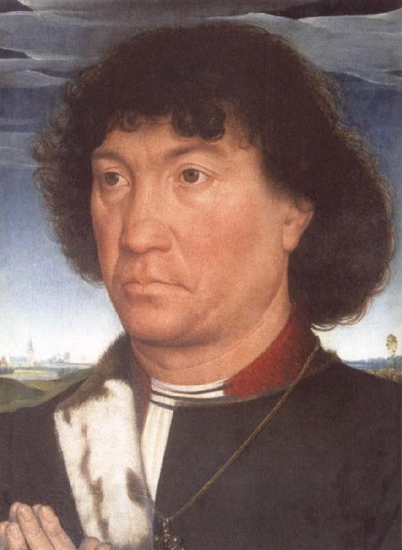 Hans Memling Portrait of a Man at Prayer before a Landscape oil painting picture