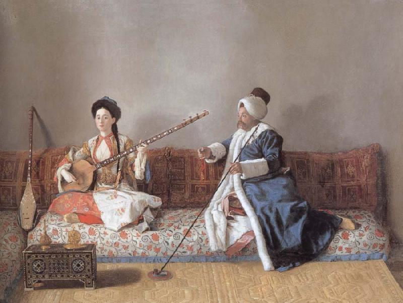 Jean-Etienne Liotard Portrait of M.Levett and of Mlle Glavany Seated on a Sofa