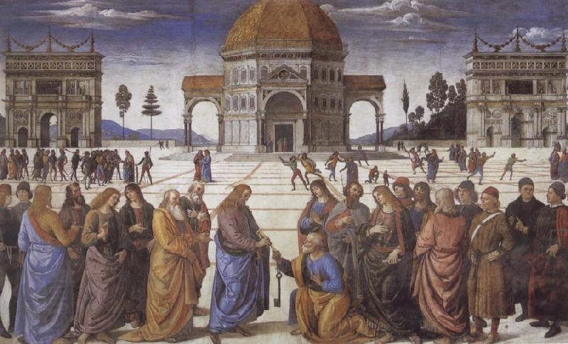 Pietro Perugino Christ giving the Keys to St.Peter oil painting picture