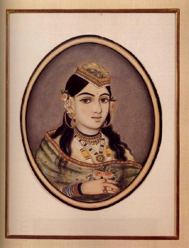 unknow artist A Courtesan of Maharaja Sawai Ram Singh of Jaipur Dressed for the Spring Festival oil painting picture