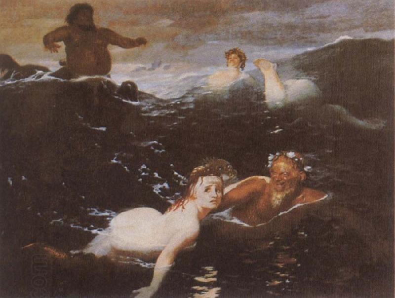Arnold Bocklin Playing in the Waves