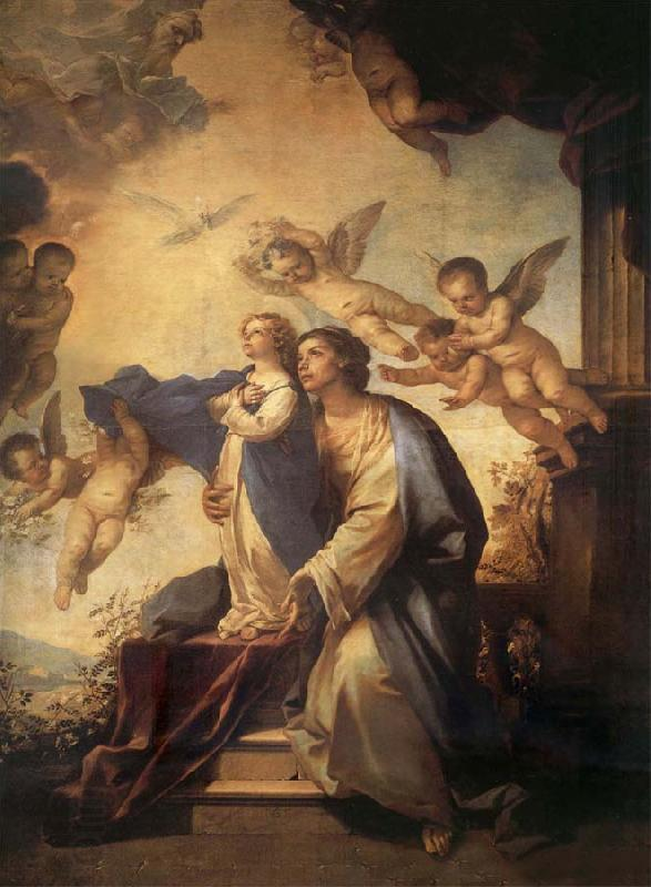 Luca Giordano Holy Ana and the nina Maria Second mitade of the 17th century oil painting picture