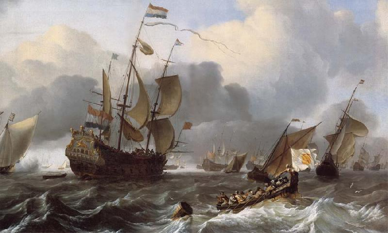 Ludolf Backhuysen Detail of THe Eendracht and a Fleet of Dutch Men-of-War oil painting picture