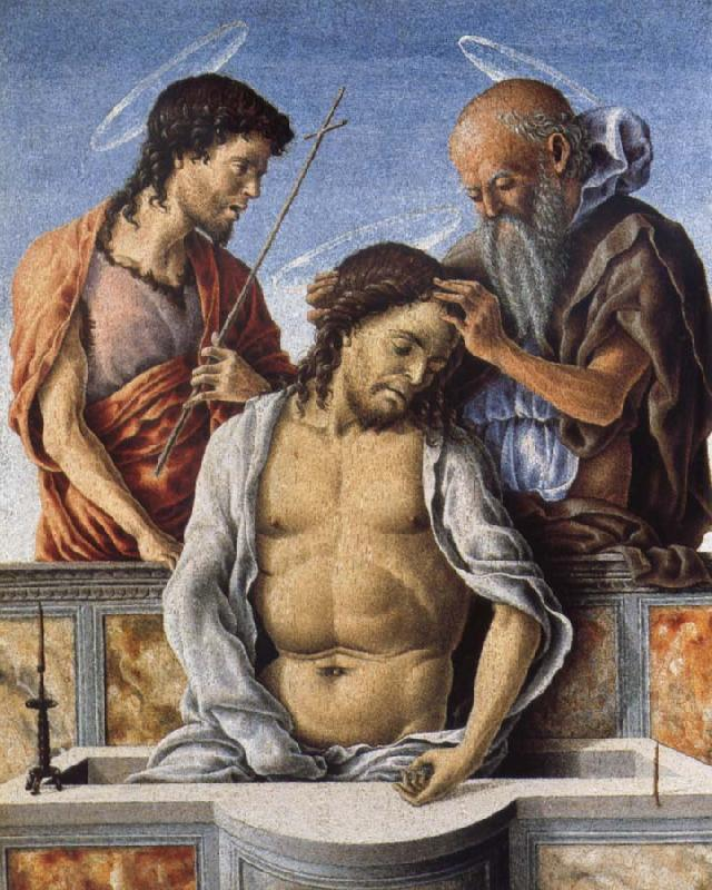 Marco Zoppo THe Dead Christ with Saint John the Baptist and Saint Jerome oil painting picture