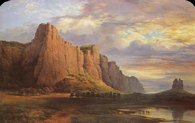 Nicholas Chevalier Mount Arapiles and the Mitre Rock oil painting picture