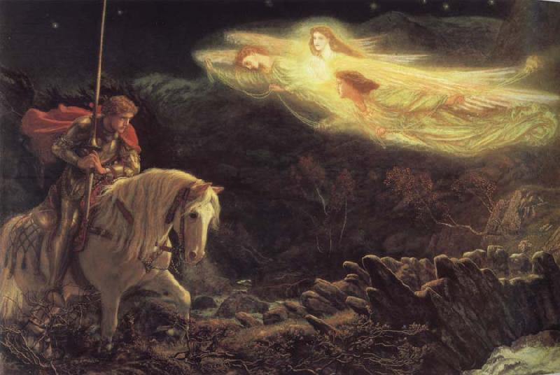 Arthur Hughes The Quest of the Holy Grail oil painting picture