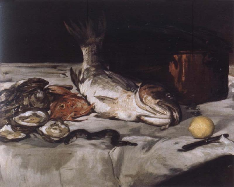 Edouard Manet Style life with carp and oysters China oil painting art