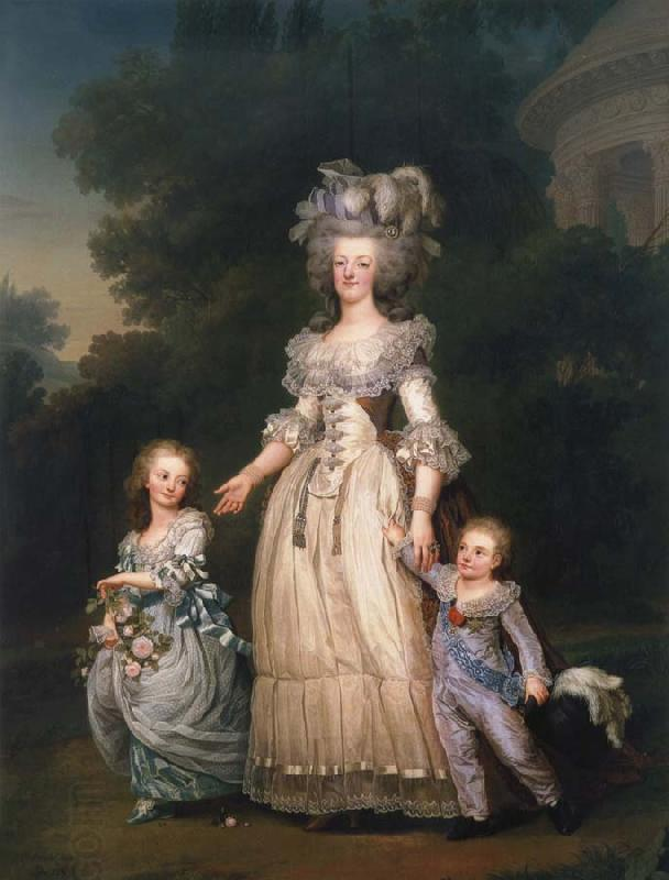 Adolf-Ulrik Wertmuller Queen Mary Antoinette with sina tva baby in Triangle park oil painting picture