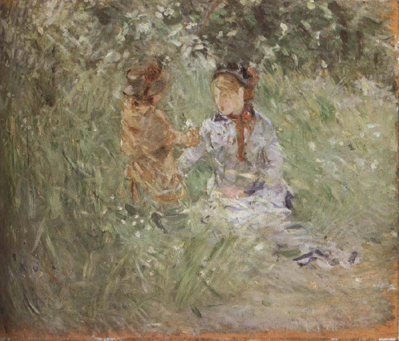 Berthe Morisot The woman and children are in the park oil painting picture