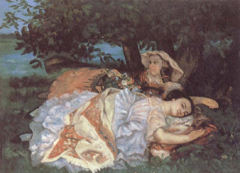 Gustave Courbet Girls on the bank of the Seine oil painting picture