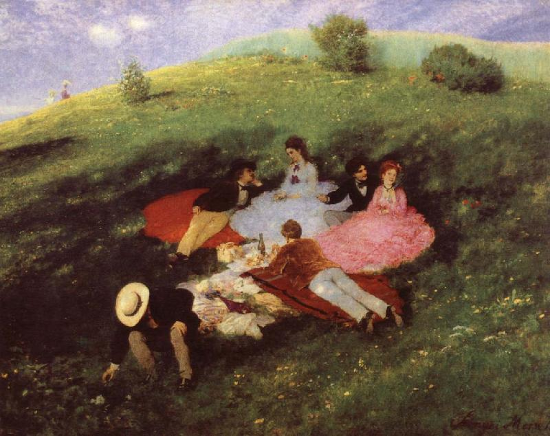 Merse, Pal Szinyei Luncheon on the Grass oil painting picture