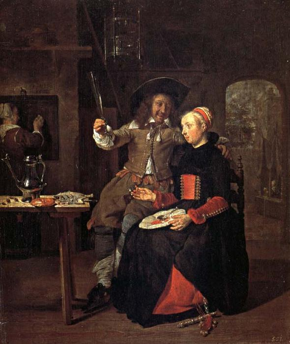 Gabriel Metsu Self-Portrait with his Wife Isabella de Wolff in an Inn oil painting picture