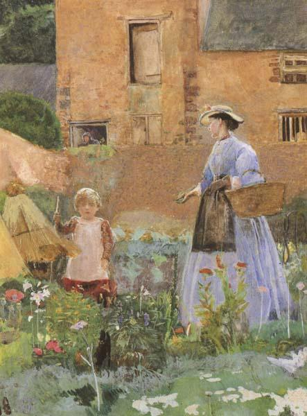 George John Pinwell,RWS In a Garden at Cookham (mk46) oil painting picture