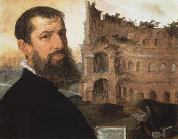 Maerten van heemskerck Self-Portrait of the Painter with the Colosseum in the Background oil painting picture