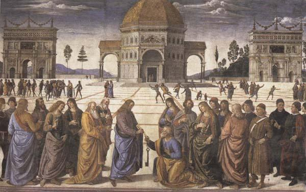 Pietro Perugino Christ Giving the Keys to Saint Peter oil painting picture