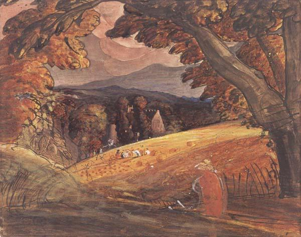Samuel Palmer Harvesters by Firelight oil painting picture