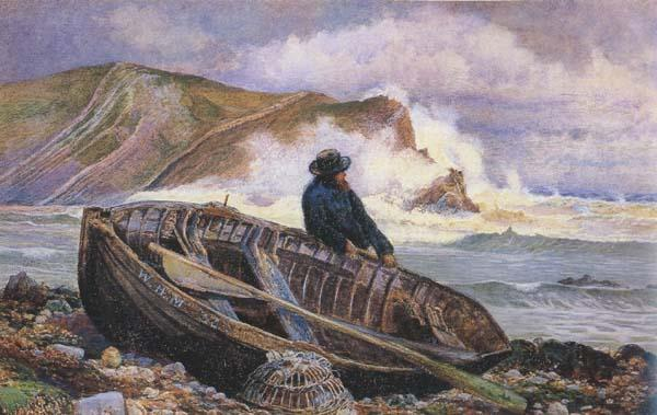 William henry millair A Fisherman with his Dinghy at Lulworth Cove (mk46)