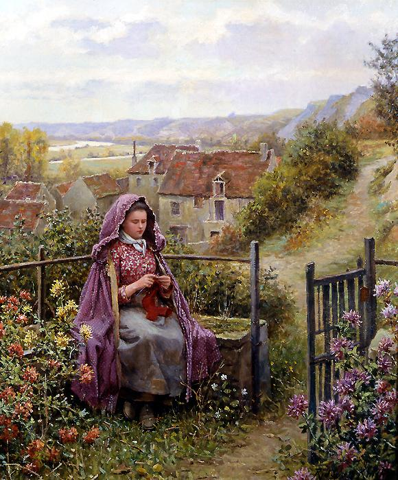 Daniel Ridgeway Knight In the Garden oil painting picture