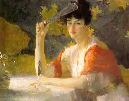 Frank Weston Benson Red and Gold oil painting picture