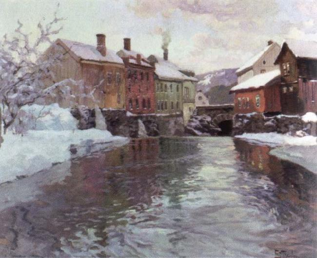 Frits Thaulow snow covered buildings by a river oil painting picture