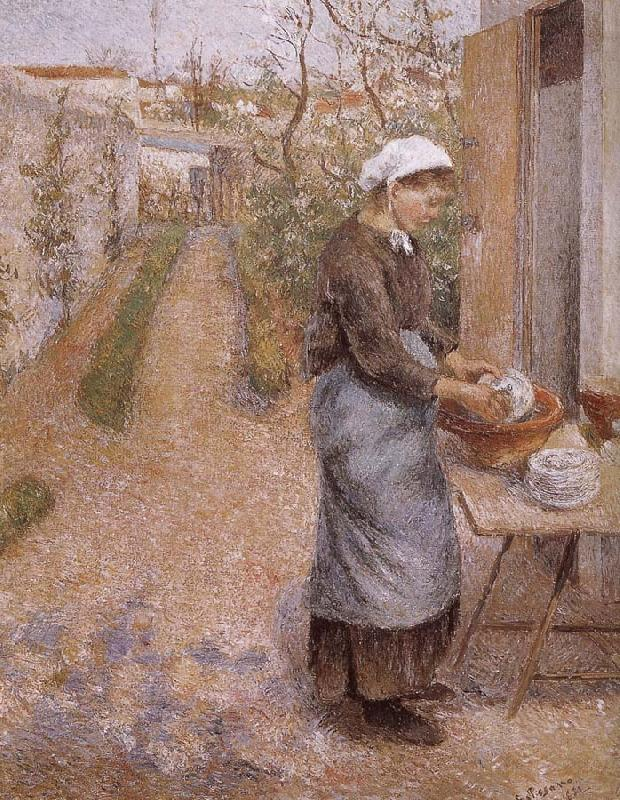 Camille Pissarro woman washing dishes oil painting picture