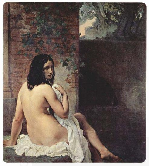 Francesco Hayez Bather viewed from behind oil painting picture