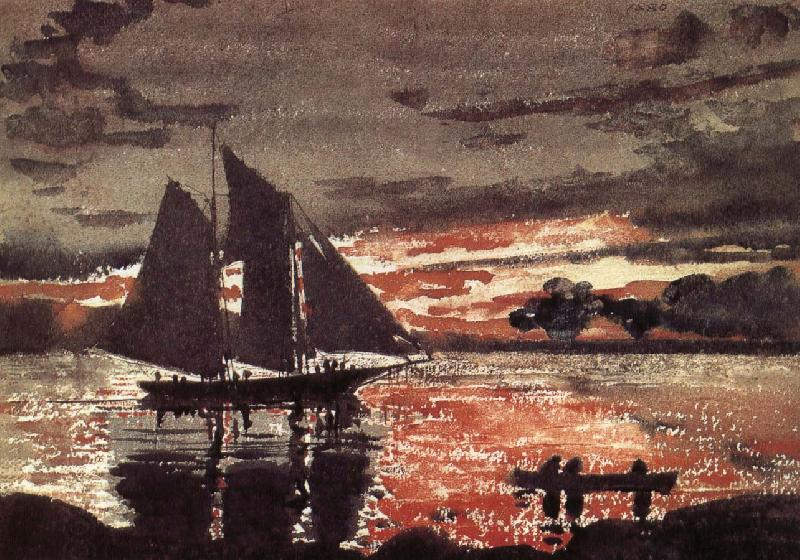 Winslow Homer Fiery red sunset scene China oil painting art