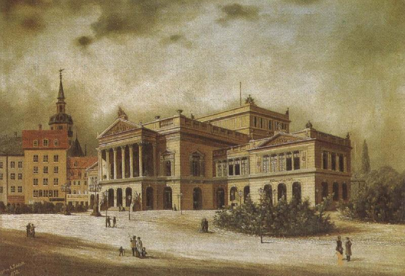 arthur o shaughnessy the leipzig opera house in the augstusplatz oil painting picture