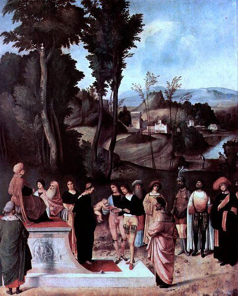 Giorgione Der Mosesknabe vor dem Pharao oil painting picture