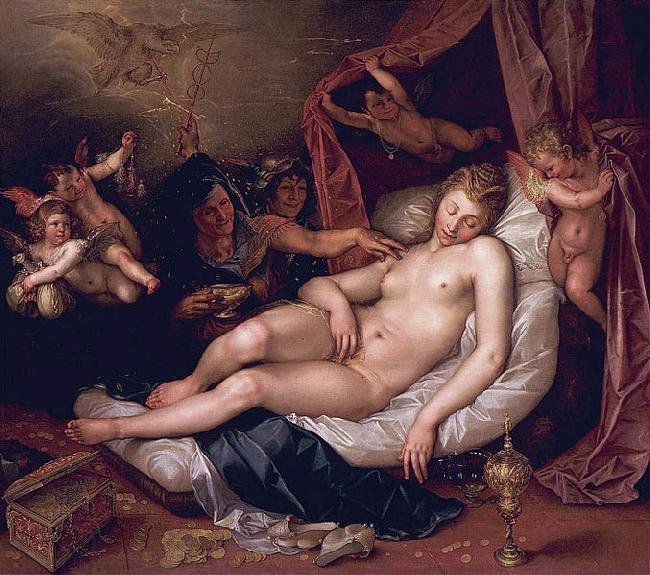 Hendrick Goltzius Danae receiving Jupiter as a shower of gold.