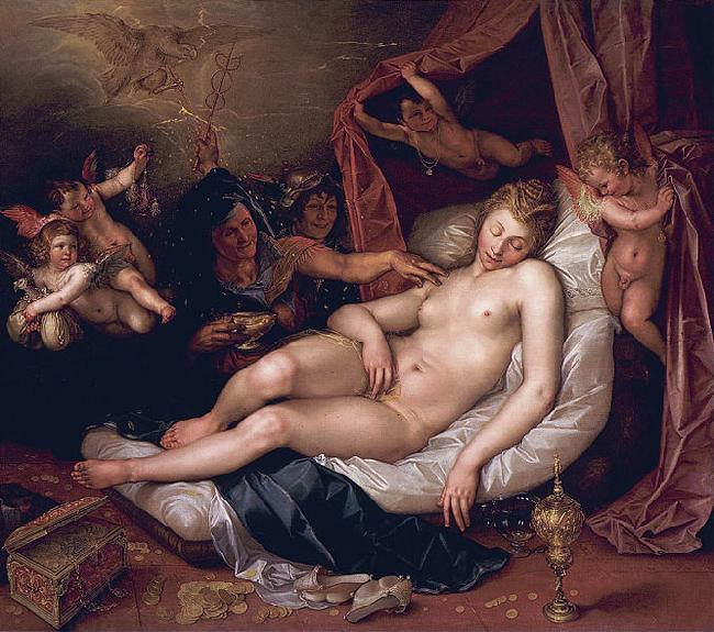 Hendrick Goltzius Sleeping Danae Being Prepared to Receive Jupiter oil painting picture