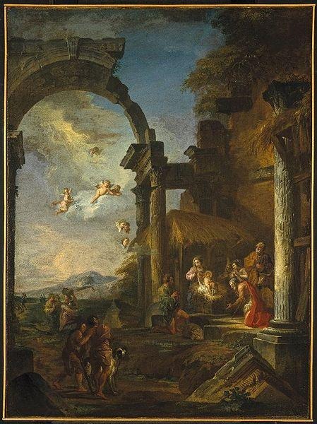 Panini, Giovanni Paolo Adoration of the Shepherds oil painting picture