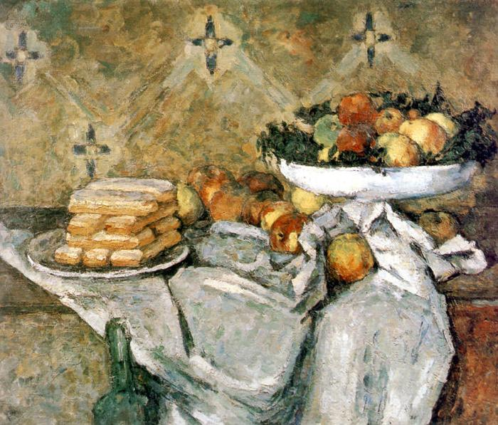 Paul Cezanne Plate with fruits and sponger fingers