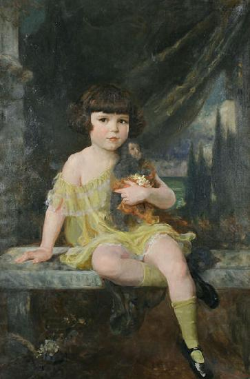 Douglas Volk Young Girl in Yellow Dress Holding her Doll