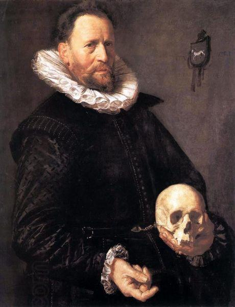 Frans Hals Portrait of a Man Holding a Skull oil painting picture