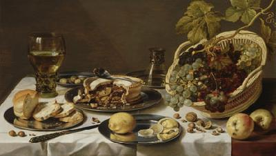 Pieter Claesz Tabletop Still Life with Mince Pie and Basket of Grapes
