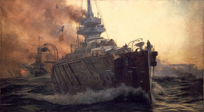 William Lionel Wyllie Oil Painting of First Battle Cruiser Squadron of Grand Fleet c. 1915. China oil painting art