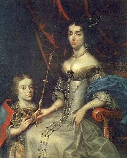 Daniel Schultz the Younger Portrait of Maria Kazimiera with her son Jakub Ludwik oil painting picture