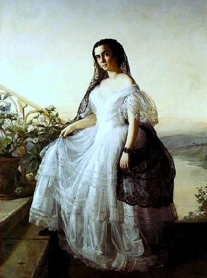 Francois Auguste Biard Portrait of a woman oil painting picture