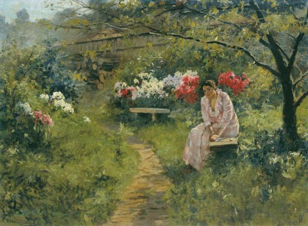 Sergey Ivanovich Svetoslavsky In the Garden oil painting picture